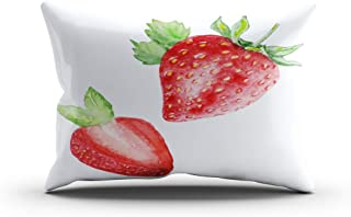 Moladika Throw Pillow Cover 20x26 Inch Standard Watercolor Set Strawberries Half Strawberry Leaves Cushion Home Decor Living Room Sofa Bedroom Office One Side Design Printed Pillowcase