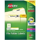 "Avery TrueBlock File Folder Labels, 2/3"" x 3-7/16"", 1,500 Printable Labels, White/Yellow, Permanent (5966)"