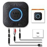 1mii B06 Plus Récepteur Audio sans Fil, Adaptateur Bluetooth 5.0 pour Système Stéréo Domestique, avec aptX-LL Faible Latence 3D Surround, 3,5mm et RCA