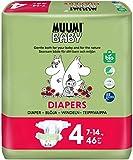 Pañales ecológicos Muumi Baby, talla 4, 7-14 KG, 46 pañales sensibilidad premium