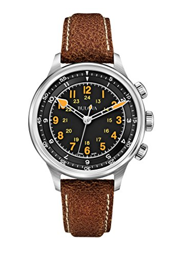Bulova 63A119 - Orologio meccanico da uomo Accu Swiss A15, quadrante nero con cronografo e cinturino in pelle marrone
