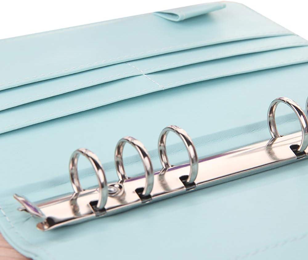 JIUWEI A6 Ringbuch Ringbuchordner 6 runde Ringe nachf/üllbar Notebook Binder f/ür A6 F/üllpapier Spiralbuch Reise Schreiben Notizbuch Tagebuch Binder Cover blau