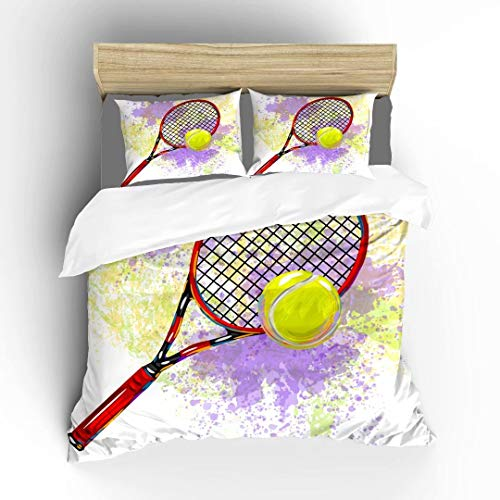 Aluy's boutique Abstract Sport Pattern of Tennis Racket and Ball Ultra Soft Bedding Sets Duvet Cover Set, Twin Size 2 Pieces with 1 Duvet Cover and 1 Pillowcase, Best Gift for Kids, Boys, Girls