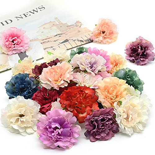 30Pcs Artificial Flower Heads, Artificial Silk Flowers 5.5cm, Faux Multicolor Flower Heads, Handmade Flower Decor for DIY Home Wedding Party Wreath Hairpin Garland Scrapbooking Accessories