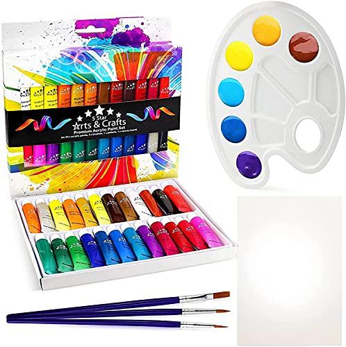 Coffret de peintures acryliques, 29 pièces comprenant 24 couleurs non toxiques et vives de haute qualité, 3 pinceaux, 1 palette et 1 toile.