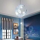 LED Lampada a Sospensione, Plafoniera Lampada Luna e Stelle Lampada a Sospensione Camera da Letto Lampadario Grande Regalo per Bambino Amico (Bianco Freddo)