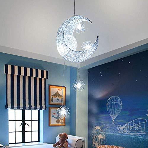 Lámpara de techo, de luna y estrellas, led, de aluminio, con 5 bombillas, para dormitorio de niños (luz blanca)