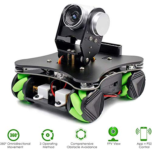 Coche Robot de codificación de la Rueda Mecanum Inteligente Robot Kit de la Pizca de la cámara FPV Rueda DIY 4WD Omni Mecanum motorizado Robot Educativo para la programación Des aprendices,Negro
