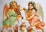 Engel Mädchen Geige Harfe EF 7127 Glanzbilder Oblate Posiebilder Scrapbook Deko GWI 563