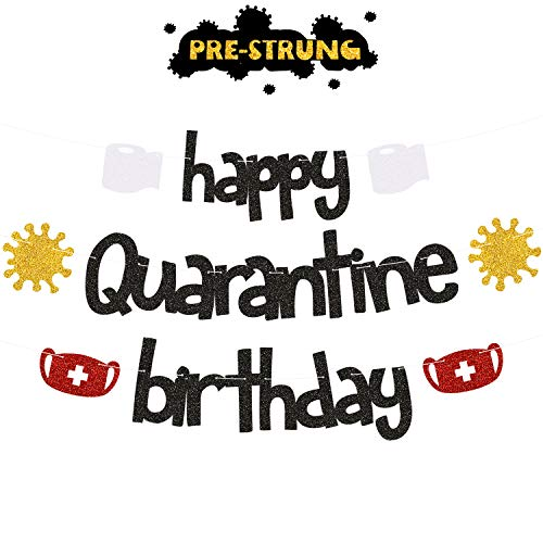 Happy Quarantine Birthday Banners - Stay Home Birthday Party Centerpiece Garland Decorations - Social Distancing Bday Lockdown Party Decor Supplies