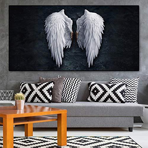 SUNNYWLH Pintura Mural Arte De La Pared HD Impreso Imágenes Lienzo Decoración del Hogar Alas De Ángel Vintage Modular Negro Blanco Pintura Cuadros para Sala De Estar