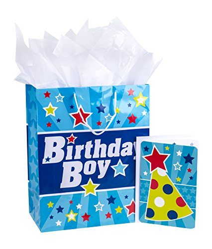 """Hallmark 13"""" Large Gift Bag with Birthday Card and Tissue Paper (Blue with Stars, Birthday Boy)"""