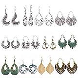 Drop Dangle Earrings Set for women Girls, 12 Pairs Retro Hypoallergenic Earring Fashion Jewelry Set (Earring-1)