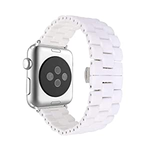 AISPORTS Compatible with Apple Watch Band Ceramic 44mm 42mm for Women Men, Sport Wristband Stainless Steel Metal Butterfly Buckle Replacement Band for Apple Watch SE/iWatch Series 6/5/4/3/2/1, White