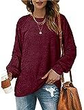 OFEEFAN Oversized Knit Sweaters for Women Crewneck Long Balloon Sleeve Shirts Wine Red M