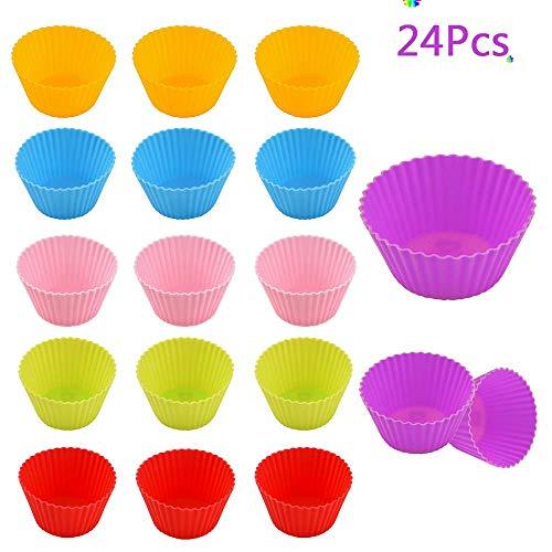 Unique\'store Cupcake-Formen, 24 Stück Wiederverwendbare Silikon Backformen Muffin-Formen,Silikon-Muffinförmchen für Muffins und Cupcakes