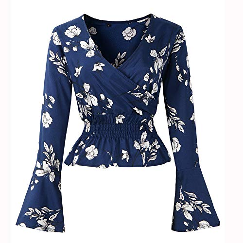 Ausverkauf! LEEDY Mode Damen Sommer Blumendruck Plus Size V-Ausschnitt Surplice Schößchen Bluse Tops Frauen T-Shirt Oberteile Langarmshirt