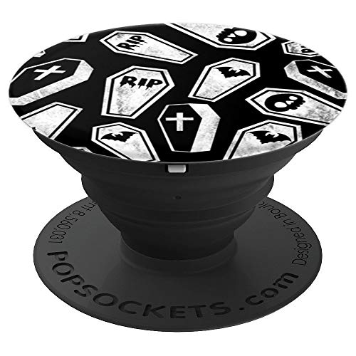 Goth Coffin Gothic Halloween Psychobilly Horror Black White PopSockets Grip and Stand for Phones and Tablets