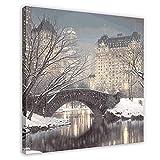 Winter in Manhattan Crepúsculo en Central Park Fotografía Art Rod Chase NYC Puente Lienzo Lienzo Arte Arte Arte de la Pared Decoración de Cuadros para Sala de estar Dormitorio Marco Decorativo