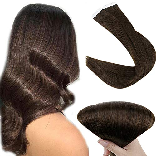 Easyouth Echthaar Tape on Extensions 14zoll Farbe 2 Dunkelbraun 80g Seamless Tape in Hair Extensions Real Human Hair Glue in Extensions