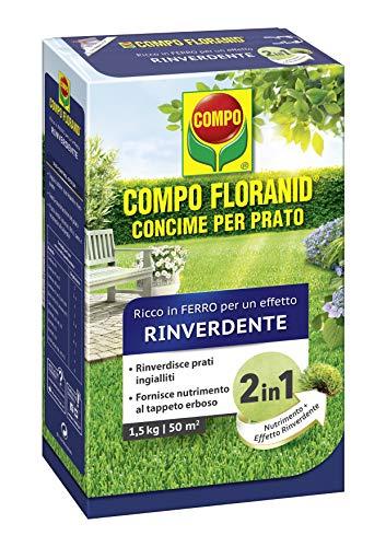 COMPO FLORANID Rinverdente, Concime per Prato, Ricco di Ferro, Per nutrire manti erbosi ingialliti e renderli fitti e verdi, 1,5 kg