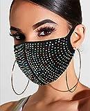 Yean Máscara de malla con purpurina de cristal brillante, para fiestas de Halloween,...