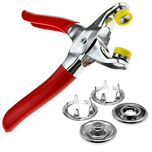 ENET - Juego de herramienta de fijación de broches de presión, alicates y botones de presión de 9,5 mm, para manualidades, kit de 100 unidades