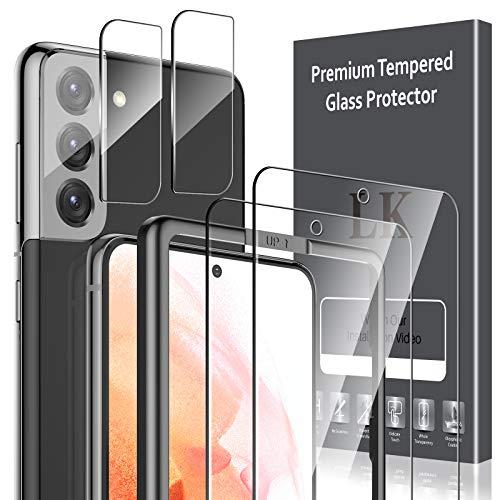 LK 4 Stück Schutzfolie Kompatibel mit Samsung Galaxy S21 Panzerglas,2 Schutzfolie und 2 Kamera Panzerglasfolie, 9H Härte Glasfolie, HD Klar Displayschutz, Kratzen Blasenfrei