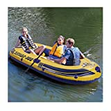 8Ft Mariner Inflatable Boat Set Series Dinghy Canoe Fishing Rafting Water Sports Kayak 3-Person (Yellow, one Size)