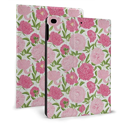 Continuous Simplistic Romantic Pink Tones Flowers Case For Ipad Mini 4/5 7.9 Inch Cover Protective Flexible Stand Cover With Auto Sleep/Wake For Apple Ipad Tablet