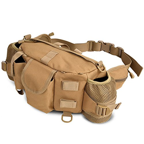 Ruifu Sac banane tactique militaire Molle pour trekking, randonnée, hanche, sac de transport (Kaki)