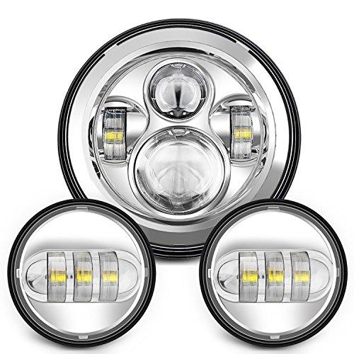 "Sunpie 7 Inch Chrome Harley LED Headlight+ 2x 4-1/2"" Fog Light Passing Lamps for Harley Motorcycle"