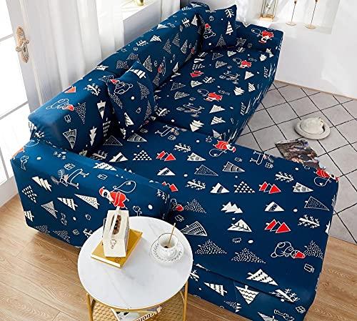 Funda Sofas 2 y 3 Plazas Árbol De Dibujos Animados Azul Fundas para Sofa con Diseño Universal,Cubre Sofa Ajustables,Fundas Sofa Elasticas,Funda de Sofa Chaise Longue,Protector Cubierta para Sofá