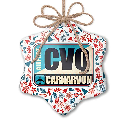 NEONBLOND Christmas Ornament Airportcode CVQ Carnarvon Red White Blue Xmas