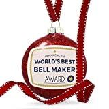 8Jo6Poe Christmas Decoration Worlds Best Bell Maker Certificate Award Ornament