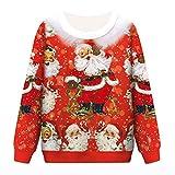 Camisa de Navidad, ZuzongYr, Disfraz de Navidad, par, Parte Superior para Mujer, Hombre, impresión en 3D, Navidad, Manga Larga, Escote en O Rojo XX-Large/XXX-Large