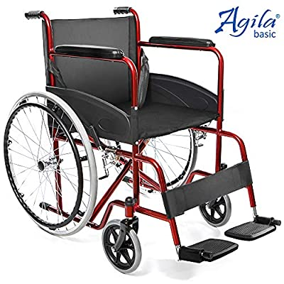AIESI® Lightweight self-propelled Folding Wheelchair for Disabled and Elderly AGILA Basic # Fixed armrests and footrests # Safety Belt # 24 Month Warranty