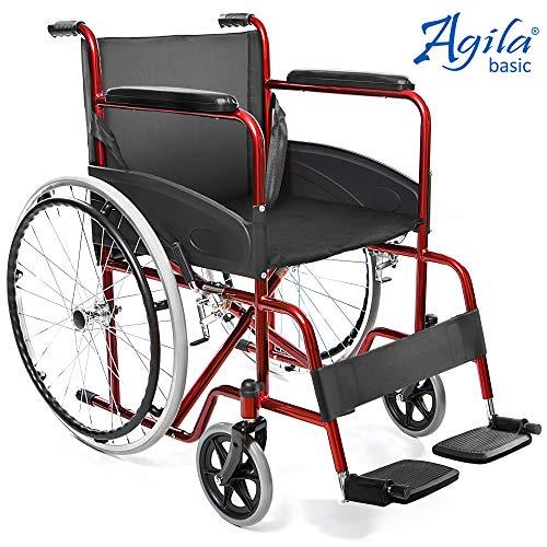 AIESI® Opklapbare Rolstoel licht voor gehandicapten en ouderen AGILA BASIC # Vaste Armleuningen en Voetsteunen # Veiligheidsgordel # 24 maanden Italië Garantie