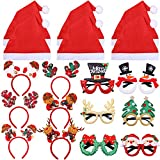 Ruisita 18 Pieces Christmas Party Costume Decorations Christmas Glitter Party Glasses Non-Woven Santa Hats Christmas Bells Headband Headwears for Christmas Party Supplies