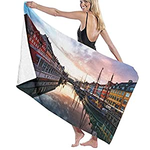 Sunset At Nyhavn - Copenhagen Denmark Soft And Super Absorbent Bath Towel, Suitable For Hotel, Swimming Pool, Gym, Beach
