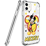 DISNEY COLLECTION Designed for iPhone 11 Case 6.1 Inch (2019) Mickey Mouse [Shock-Absorbing] [Scratch-Resistant] [Military Grade Protection] Hard PC + Flexible TPU Frame Transparent Cover Case