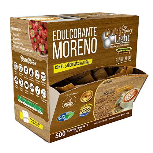 Edulcorante moreno granulado 500 sobres 100% natural de caña DulciLight con magnesio y fibra vegetal guar 1GR = 10GR azucar.