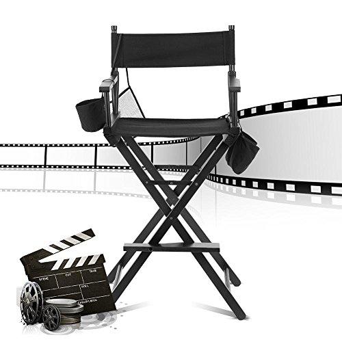 GOTOTOP - Silla taburete plegable portátil para maquillaje silla de director con un soporte para botella de agua,silla de artista con 2 bolsas de almacenamiento pequeñas y 1 bolsa de red grande Negro