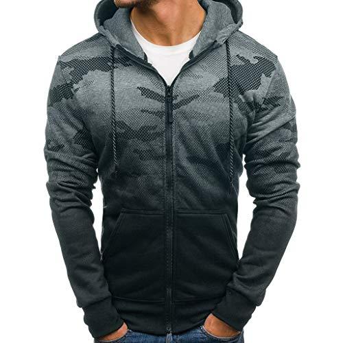 KPILP Herrenmode Herbst Winter Langarm-Shirt Reißverschluss Patchwork mit Kapuze Sweatshirt Strickjacke Übergröße Oberteile Bluse