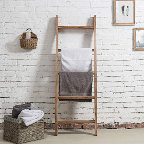 MyGift Wall-Leaning Dark Brown Wood Towel Ladder Rack