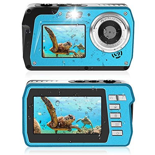 Unterwasserkamera 2.7K Unterwasser Kamera 48 MP Kamera Wasserdicht HD Dual Screen TFT Zeigt die Selfie- Unterwasserkamera Digital Wasserdicht mit Blitzlicht