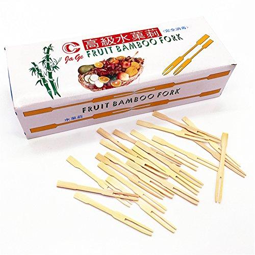 OUXIYA 900 piezas – 3.5 pulgadas de bambú de fruta/mini tenedores de cóctel astilla, perfecto para fiestas, bufés, degustaciones de alimentos, etc.