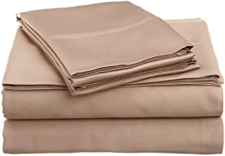 600-Thread-Count 100% Cotton Bed Sheets & Pillowcases Set - 4 Pc Pure Taupe Solid Long-Staple Cotton Twin-XXL Sheet for Bed, Fits Mattress Upto 9'' Deep Pocket, Soft & Silky Sateen Weave