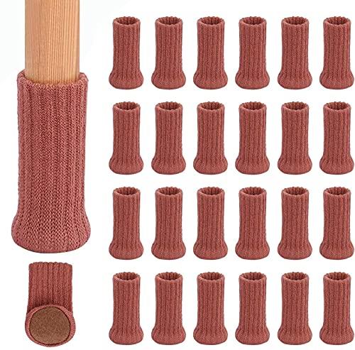 GAXQFEI 24 Pcs Silla Calcetines de Piernas Altas Protectores de Piso Elástico Antideslizante Patas de Piernas Calcetines Cubre Tapas de Muebles, Diámetro de Ajuste de 1'A 2', Almohadillas de Muebles