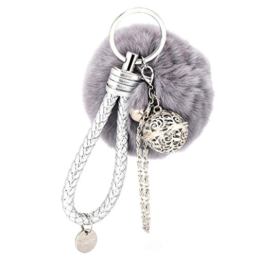 Kanggest 1Pcs Fluffy Keychain Keyring Lovely Metal Palace Bell Handbag Pendant Fashion Ball Pom Pom Cute Gift Car Key Rings for Women Lady Girls Phone Bag Ornaments (Grey)